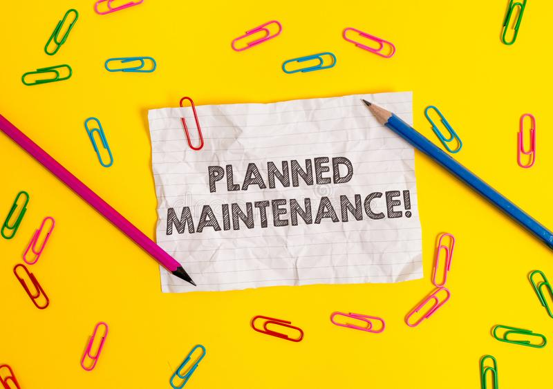 Conceptual hand writing showing Planned Maintenance. Business photo showcasing Check ups to be done Scheduled on a. Conceptual hand writing showing Planned royalty free stock image