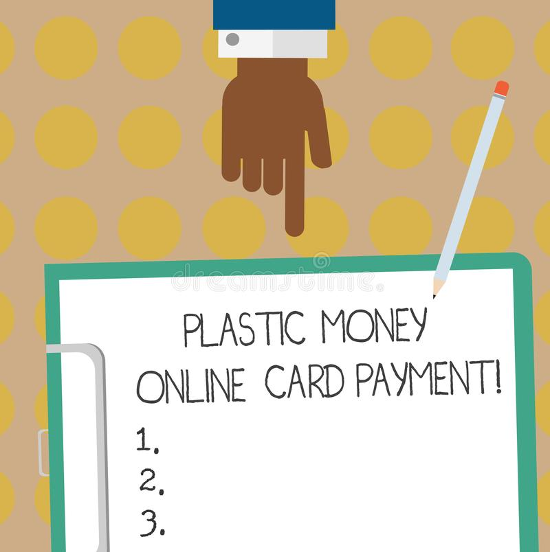 Conceptual hand writing showing Plastic Money Online Card Payment. Business photo text Website multimedia purchasing ecommerce Hu. Analysis Hand Pointing Down royalty free stock images