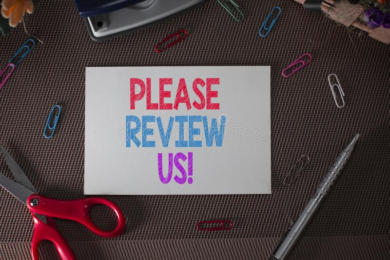 Conceptual hand writing showing Please Review Us. Business photo text situation or system is formal examination by stock photos