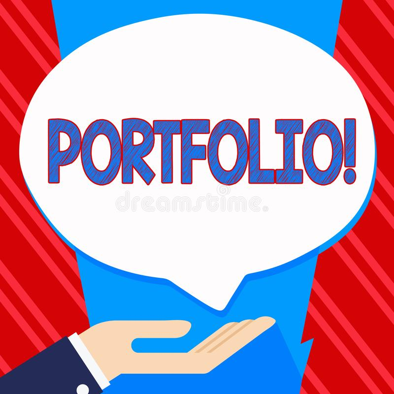 Conceptual hand writing showing Portfolio. Business photo text Examples of work used to apply for a job Combination of. Shares stock illustration