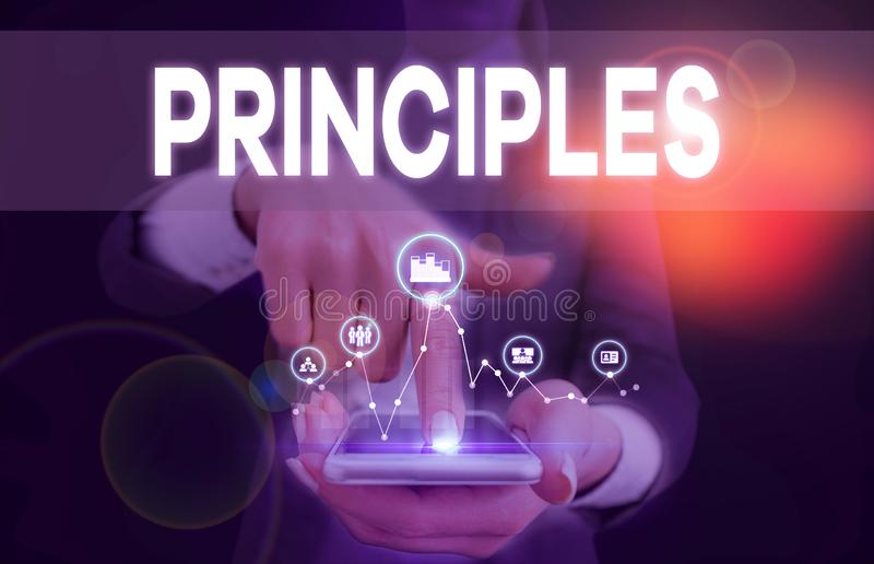 Conceptual hand writing showing Principles. Business photo text fundamental truth that serves as the base for a system. Conceptual hand writing showing royalty free stock photography
