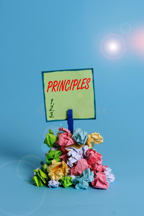 Conceptual hand writing showing Principles. Business photo text fundamental truth that serves as the base for a system of belief. Conceptual hand writing showing royalty free stock photos