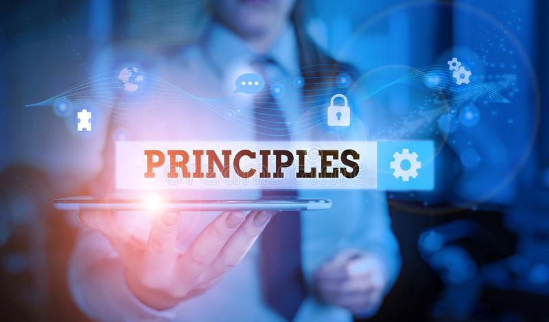 Conceptual hand writing showing Principles. Business photo text fundamental truth that serves as the base for a system of belief. Conceptual hand writing showing royalty free stock images