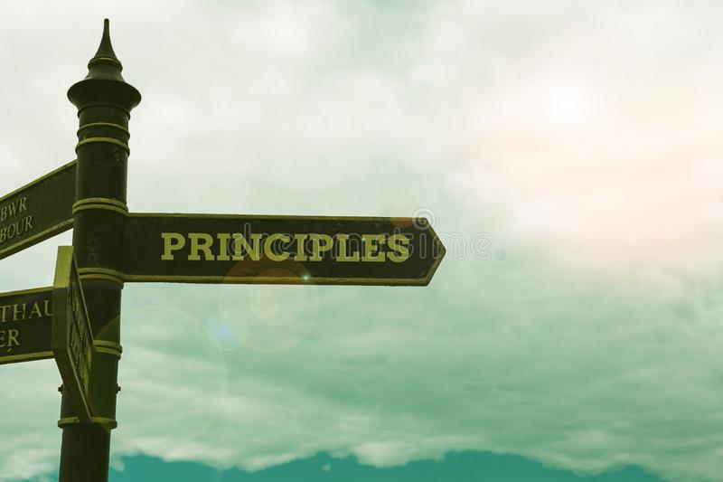 Conceptual hand writing showing Principles. Business photo text fundamental truth that serves as the base for a system. Conceptual hand writing showing royalty free stock images