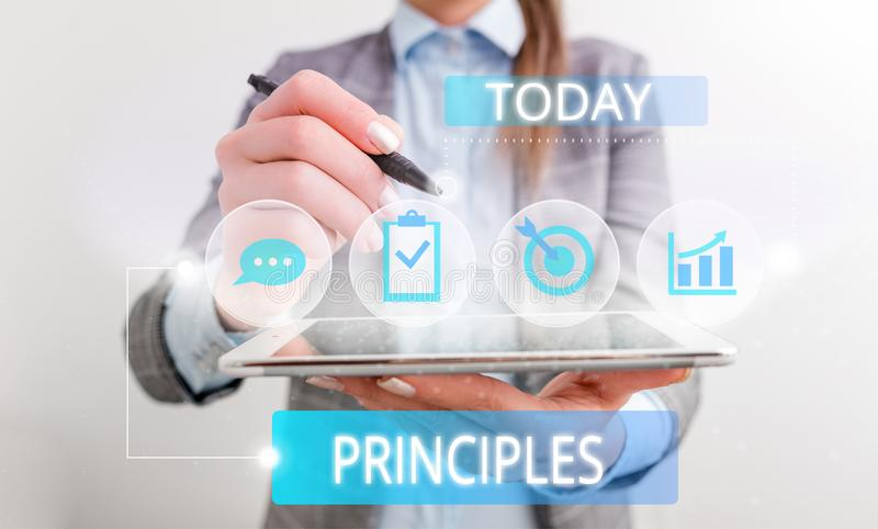 Conceptual hand writing showing Principles. Business photo text fundamental truth that serves as the base for a system. Conceptual hand writing showing stock photography