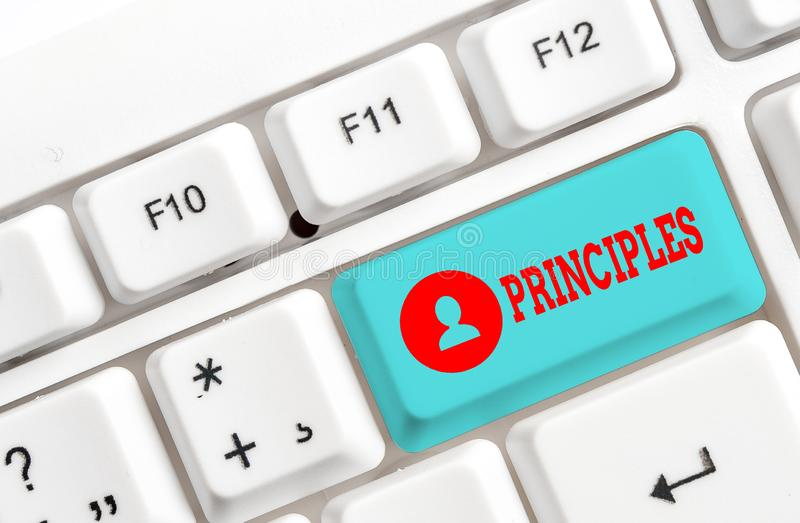 Conceptual hand writing showing Principles. Business photo showcasing fundamental truth that serves as the base for a. Conceptual hand writing showing Principles royalty free stock images