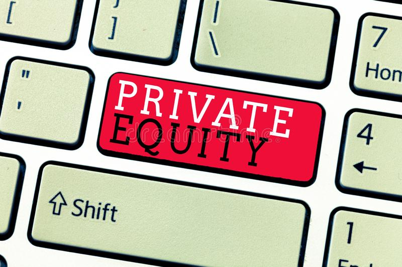 Conceptual hand writing showing Private Equity. Business photo text Capital that is not listed on a public exchange Investments.  royalty free stock photo