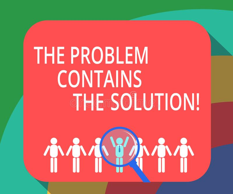Conceptual hand writing showing The Problem Contains The Solution. Business photo showcasing Solutions are inside the troubles royalty free stock photos