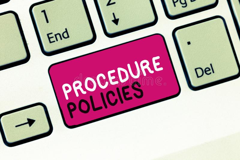 Conceptual hand writing showing Procedure Policies. Business photo showcasing Steps to Guiding Principles Rules and. Regulations stock photos