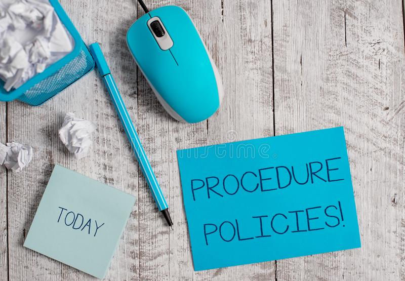 Conceptual hand writing showing Procedure Policies. Business photo showcasing Steps to Guiding Principles Rules and. Conceptual hand writing showing Procedure royalty free stock photo