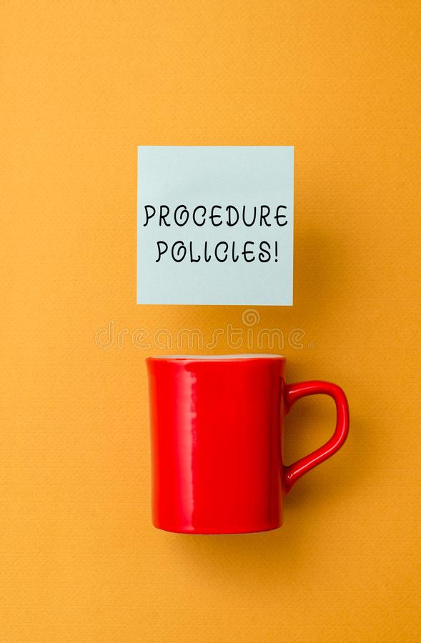 Conceptual hand writing showing Procedure Policies. Business photo text Steps to Guiding Principles Rules and. Conceptual hand writing showing Procedure Policies royalty free stock photo