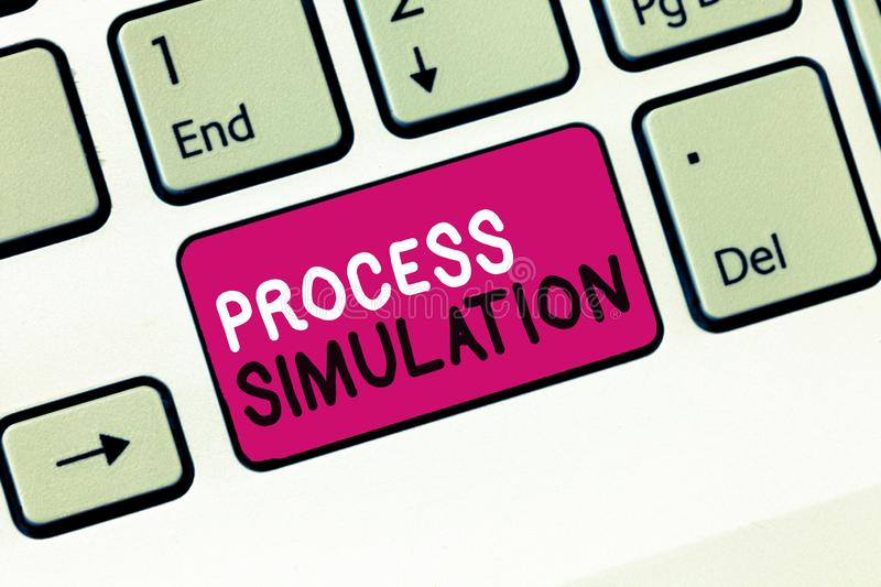 Conceptual hand writing showing Process Simulation. Business photo showcasing Technical Representation Fabricated Study royalty free stock image