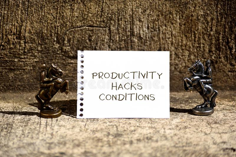 Conceptual hand writing showing Productivity Hacks. Business photo showcasing tricks that you get more done in the same. Conceptual hand writing showing stock images