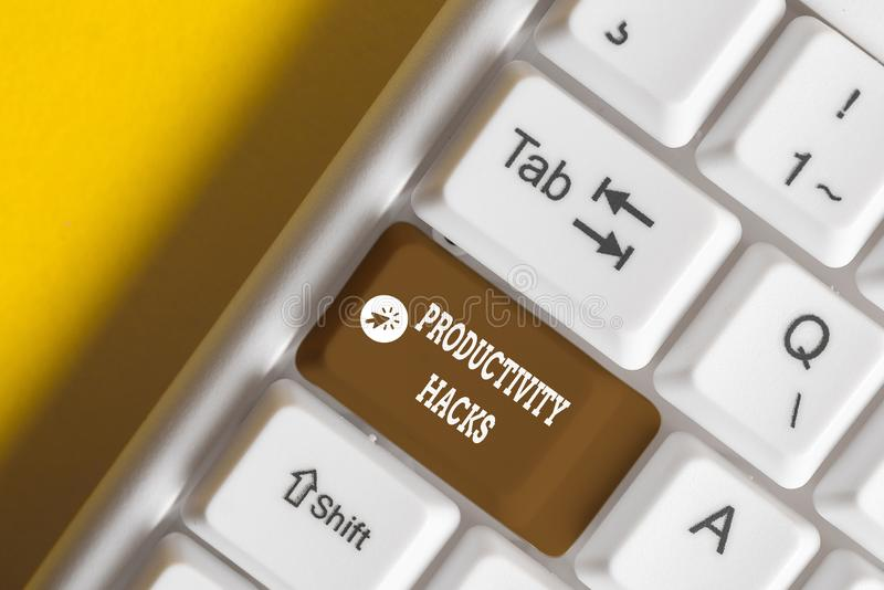 Conceptual hand writing showing Productivity Hacks. Business photo showcasing tricks that you get more done in the same. Conceptual hand writing showing royalty free stock photos