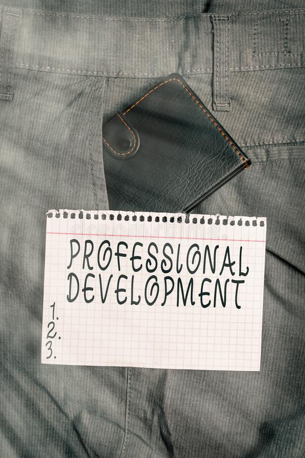 Conceptual hand writing showing Professional Development. Business photo text Learning to earn or maintain Mastery Credentials. Conceptual hand writing showing royalty free stock images