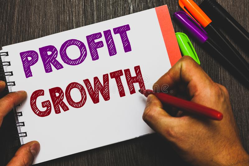 Conceptual hand writing showing Profit Growth. Business photo text Objectives Interrelation of Overall Sales Market Shares Man hol. Ding notebook paper royalty free stock images
