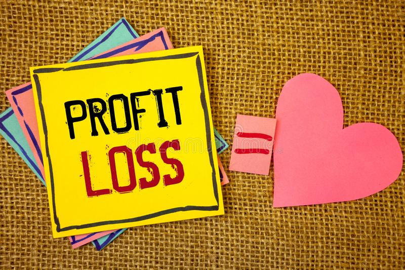 Conceptual hand writing showing Profit Loss. Business photos text Financial year end account contains total revenues and expensesI. Conceptual hand writing stock images