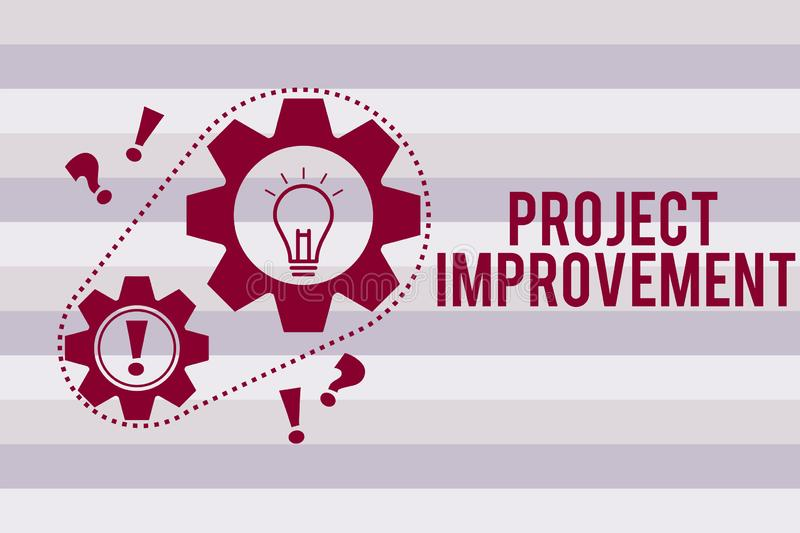 Conceptual hand writing showing Project Improvement. Business photo text Methods Techniques to accomplish a defined. Objective royalty free illustration