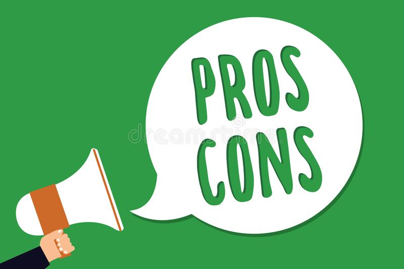 Conceptual hand writing showing Pros Cons. Business photo showcasing The favorable and unfavorable factors or reasons of person Ma stock illustration