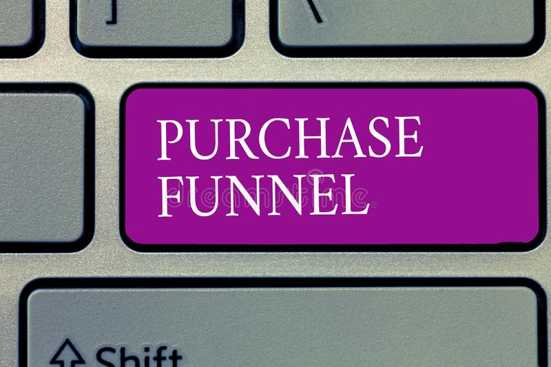 Conceptual hand writing showing Purchase Funnel. Business photo text consumer model which illustrates customer journey royalty free stock photography