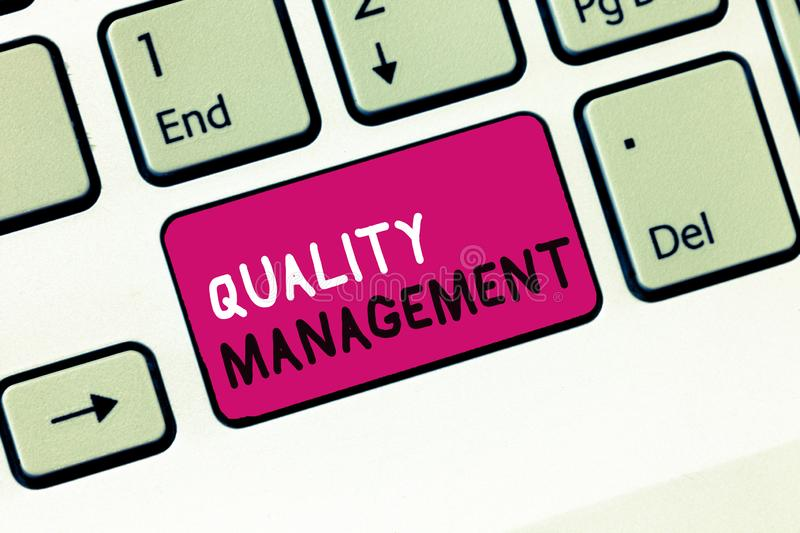 Conceptual hand writing showing Quality Management. Business photo showcasing Maintain Excellence Level High Standard. Product Services stock photography