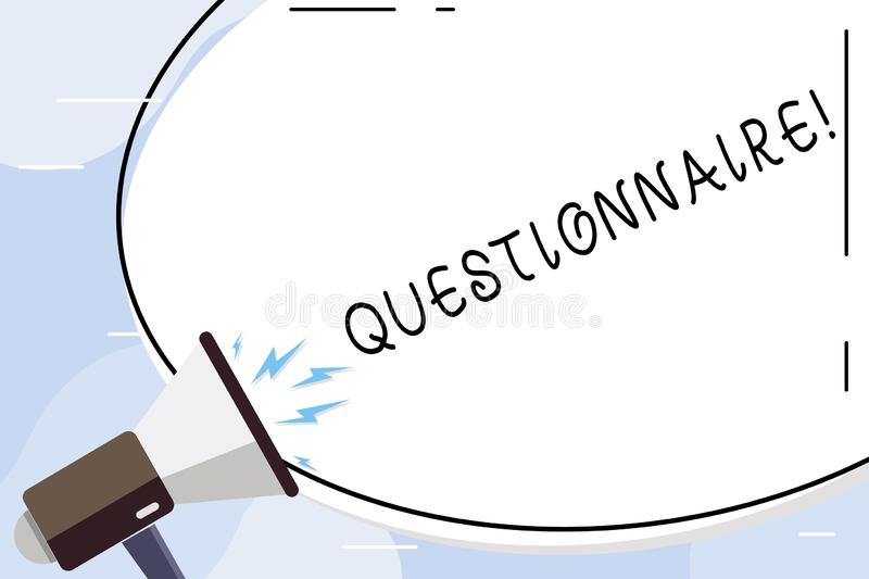 Conceptual hand writing showing Questionnaire. Business photo text Questions with a choice of answers Survey Statistical. Conceptual hand writing showing royalty free illustration