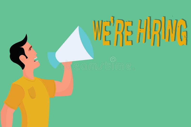 Conceptual hand writing showing WE are RE HIRING. Business photo showcasing Need to employ someone Job vacancy. Recruiting analysispower stock illustration