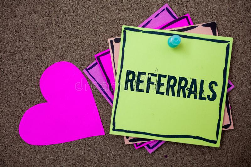 Conceptual hand writing showing Referrals. Business photo showcasing Act of referring someone or something for consultation review. Love art paper lovely nice royalty free stock photo