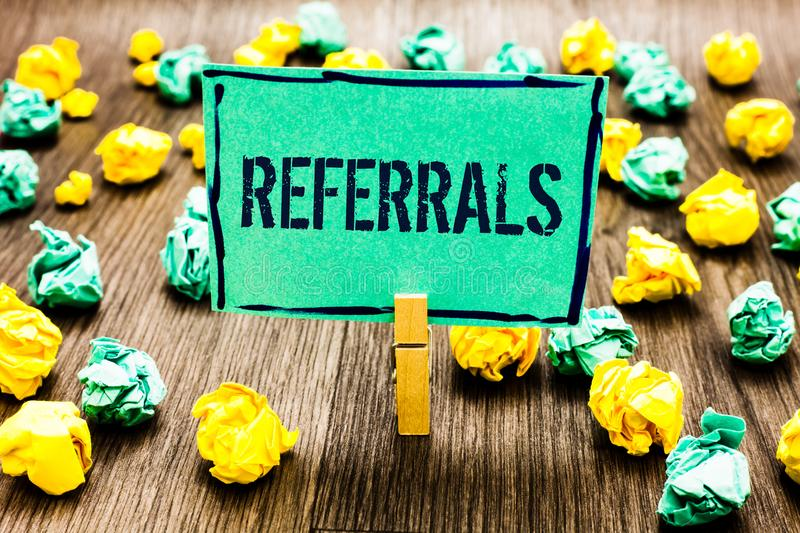 Conceptual hand writing showing Referrals. Business photo showcasing Act of referring someone or something for consultation review. Crumpled papers ideas royalty free stock photography