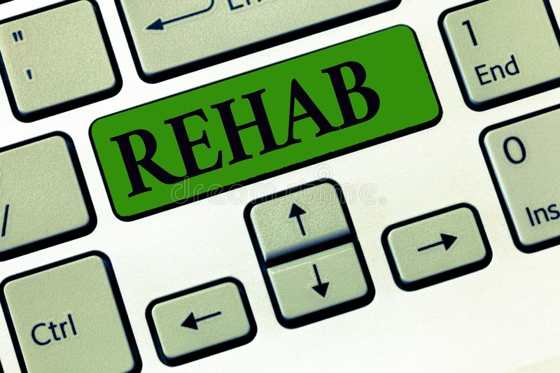 Conceptual hand writing showing Rehab. Business photo showcasing course treatment for drug alcohol dependence typically. At residential royalty free stock photography