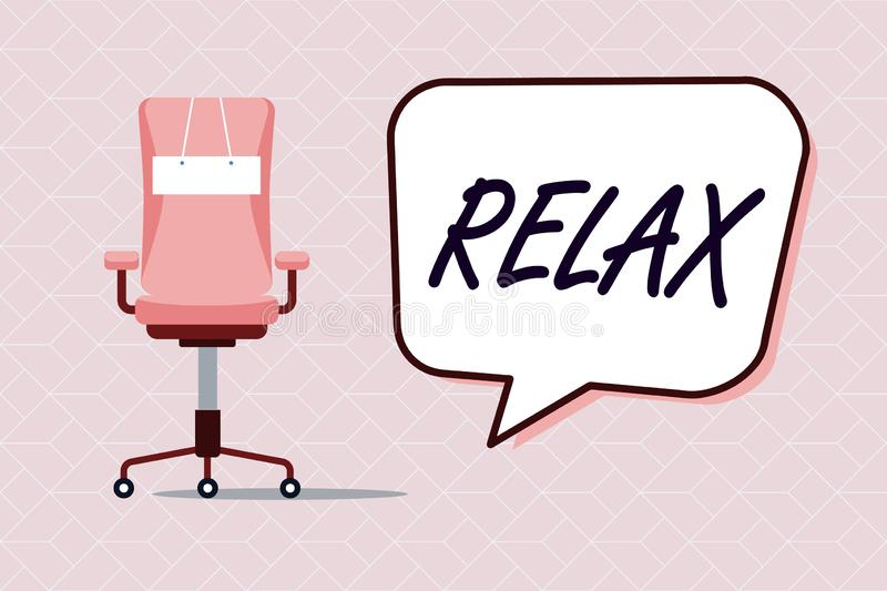 Conceptual hand writing showing Relax. Business photo text make or become less tense anxious calming down no restrictions.  royalty free illustration