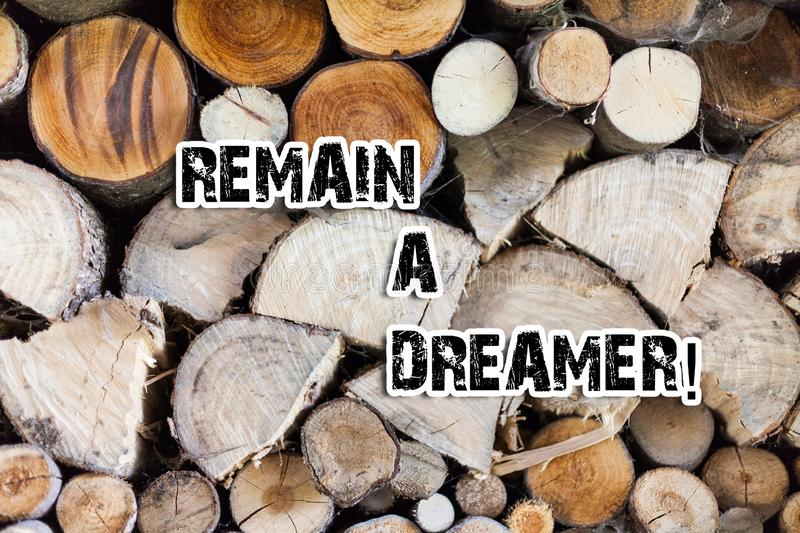 Conceptual hand writing showing Remain A Dreamer. Business photo text they spend lot of time thinking about and planning. Conceptual hand writing showing Remain stock photos