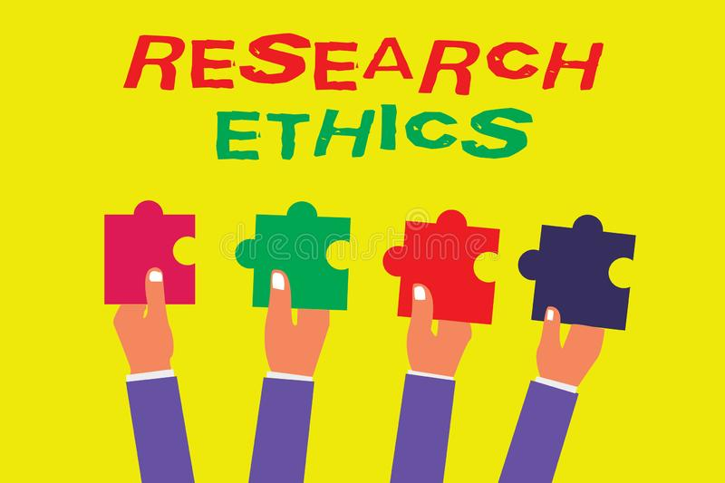 Conceptual hand writing showing Research Ethics. Business photo showcasing interested in the analysis of ethical issues that raise. D vector illustration