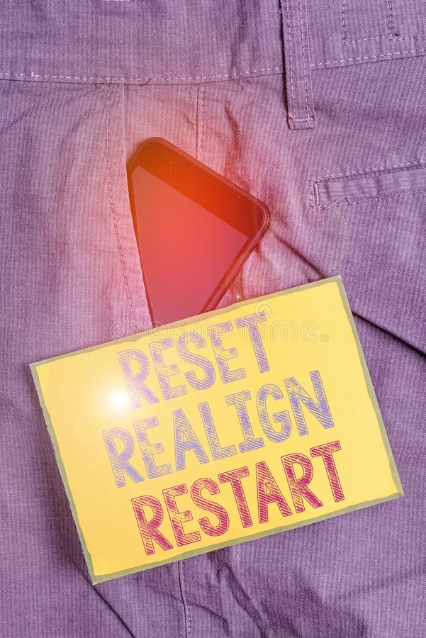 Conceptual hand writing showing Reset Realign Restart. Business photo showcasing Life audit will help you put things in stock photos