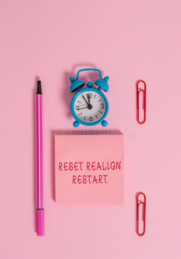 Conceptual hand writing showing Reset Realign Restart. Business photo text Life audit will help you put things in. Conceptual hand writing showing Reset Realign royalty free stock photo