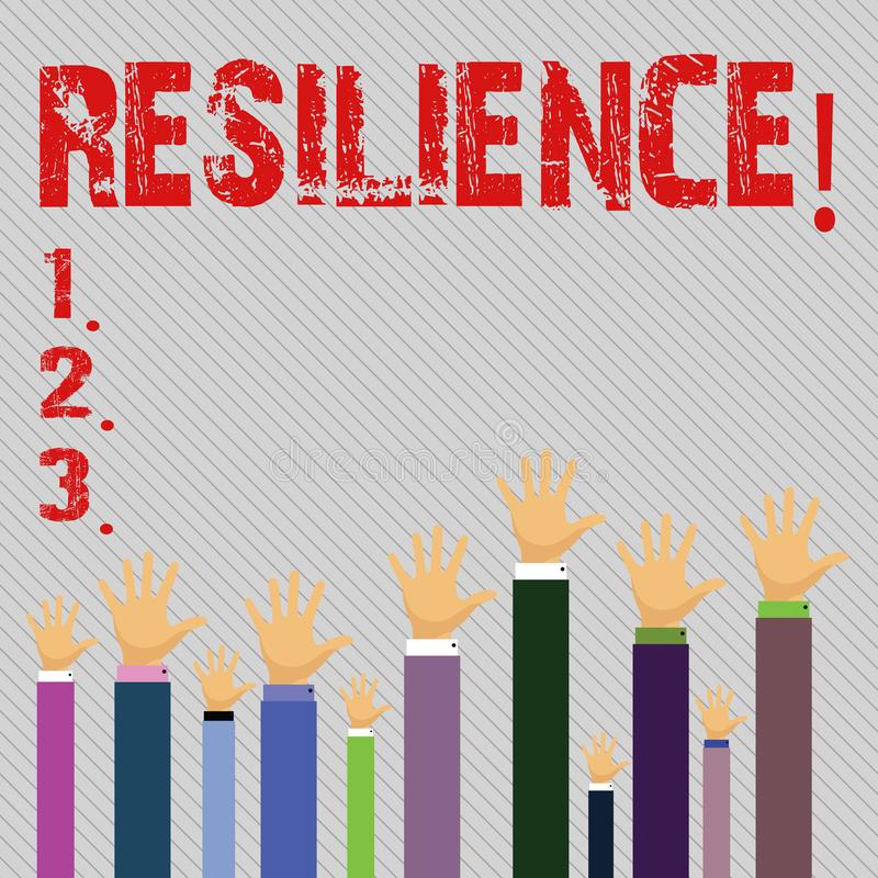 Conceptual hand writing showing Resilience. Business photo text Capacity to recover quickly from difficulties. Persistence vector illustration