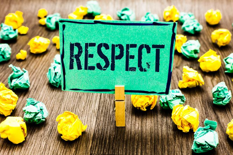 Conceptual hand writing showing Respect. Business photo showcasing Feeling of deep admiration for someone or something Appreciatio. N Crumpled papers ideas stock photography