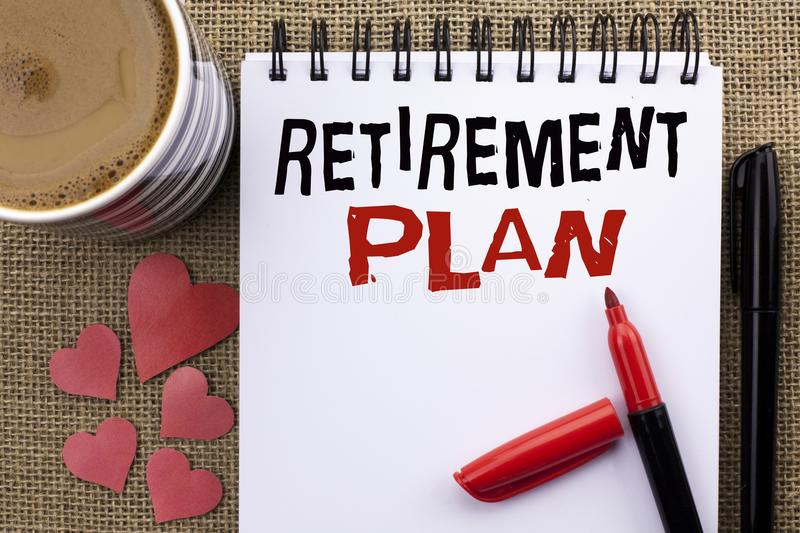 Conceptual hand writing showing Retirement Plan. Business photo showcasing Savings Investments that provide incomes for retired wo. Rkers written Notebook Book royalty free stock photo