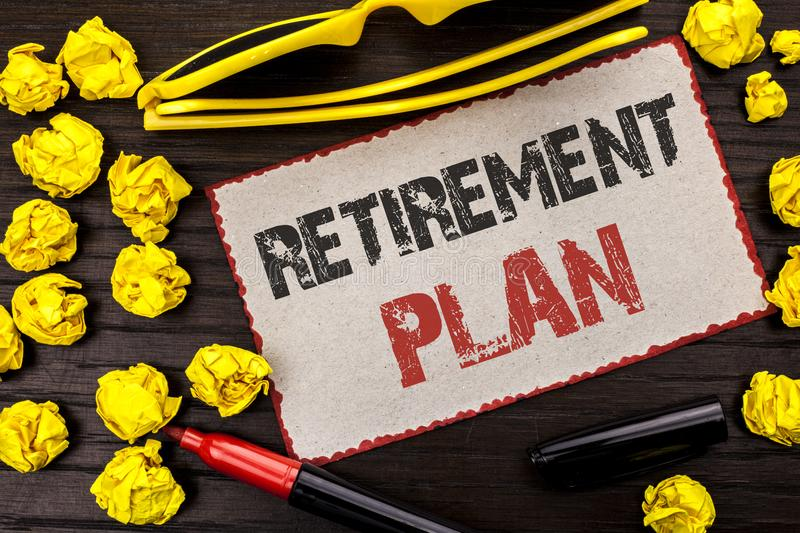 Conceptual hand writing showing Retirement Plan. Business photo text Savings Investments that provide incomes for retired workers. Written Cardboard Piece the royalty free stock image