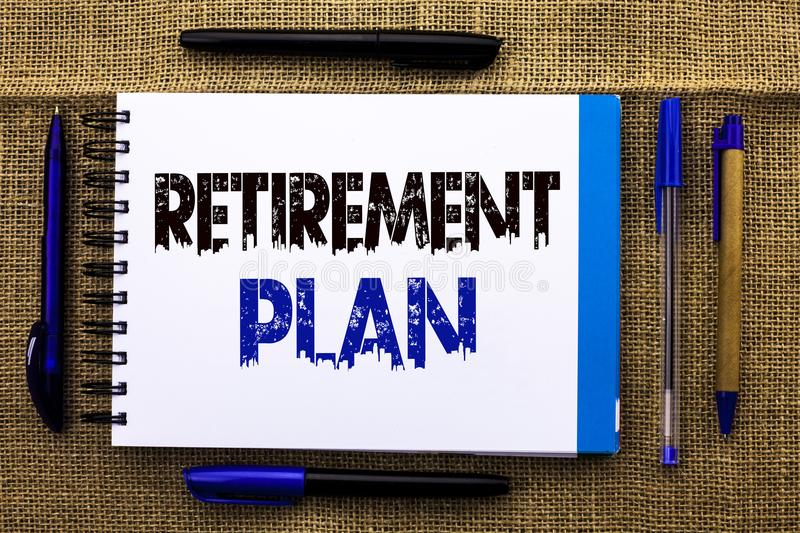 Conceptual hand writing showing Retirement Plan. Business photo text Savings Investments that provide incomes for retired workers. Written Notebook Book the stock photos