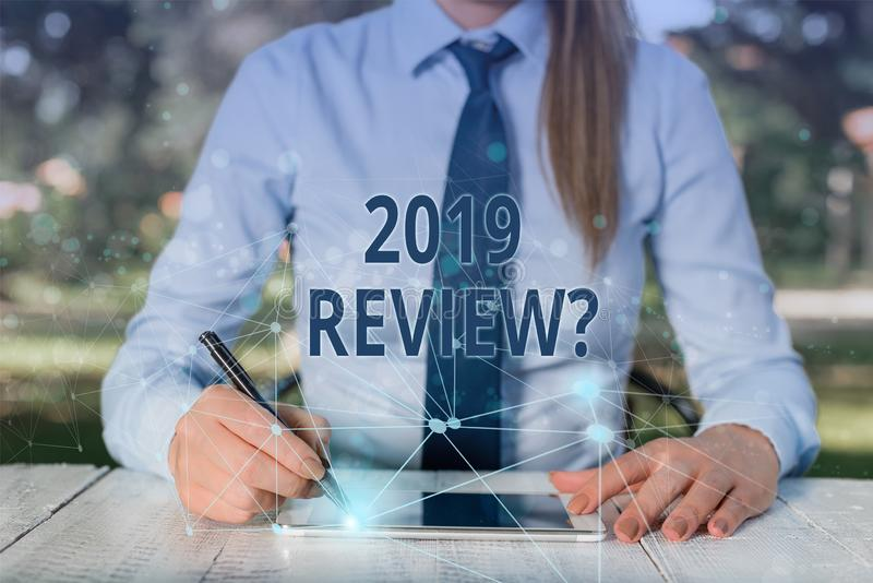 Conceptual hand writing showing 2019 Review Question. Business photo showcasing remembering past year events main. Conceptual hand writing showing 2019 Review stock photography