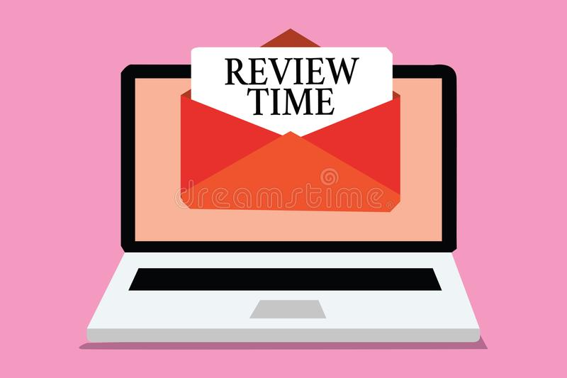 Conceptual hand writing showing Review Time. Business photo showcasing situation or system its formal examination by people author vector illustration