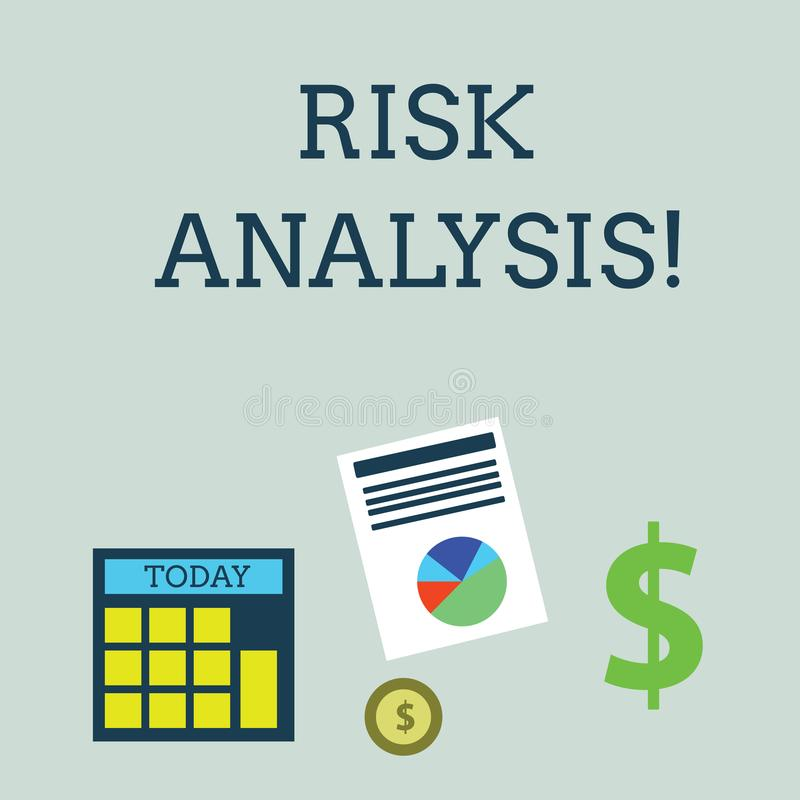Conceptual hand writing showing Risk Analysis. Business photo showcasing review of the risks associated with a. Conceptual hand writing showing Risk Analysis royalty free illustration
