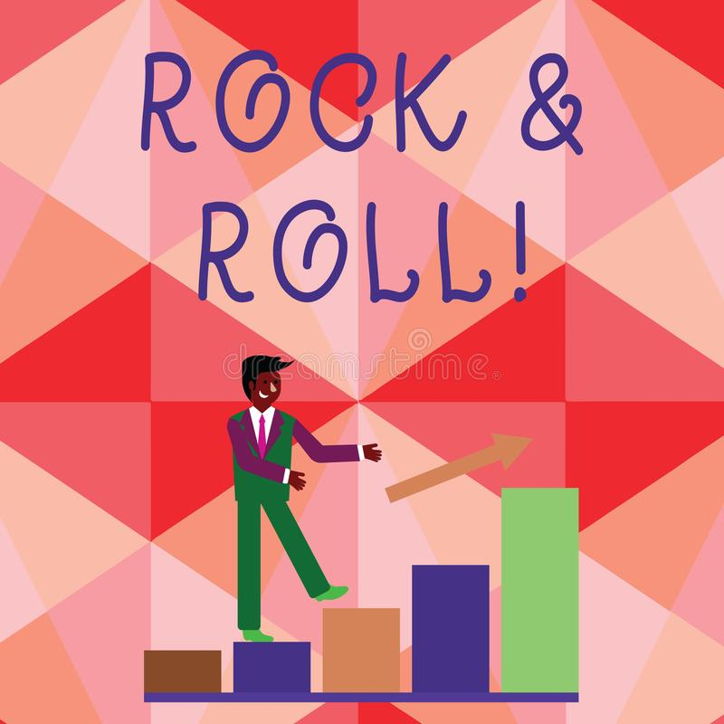 Conceptual hand writing showing Rock And Roll. Business photo showcasing Musical Genre Type of popular dance music Heavy. Conceptual hand writing showing Rock stock illustration