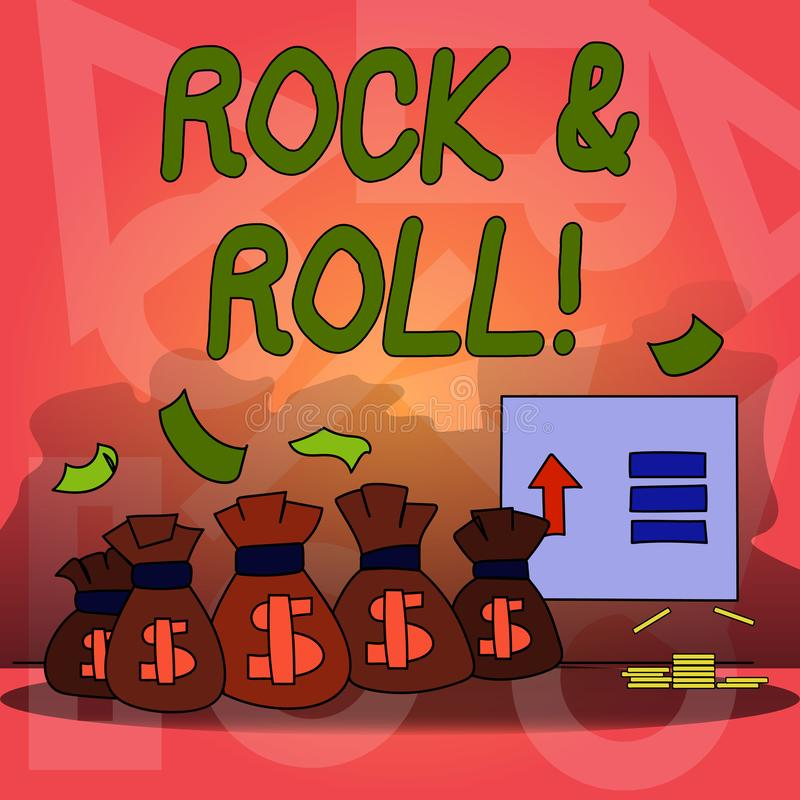 Conceptual hand writing showing Rock And Roll. Business photo text Musical Genre Type of popular dance music Heavy Beat. Conceptual hand writing showing Rock And stock illustration