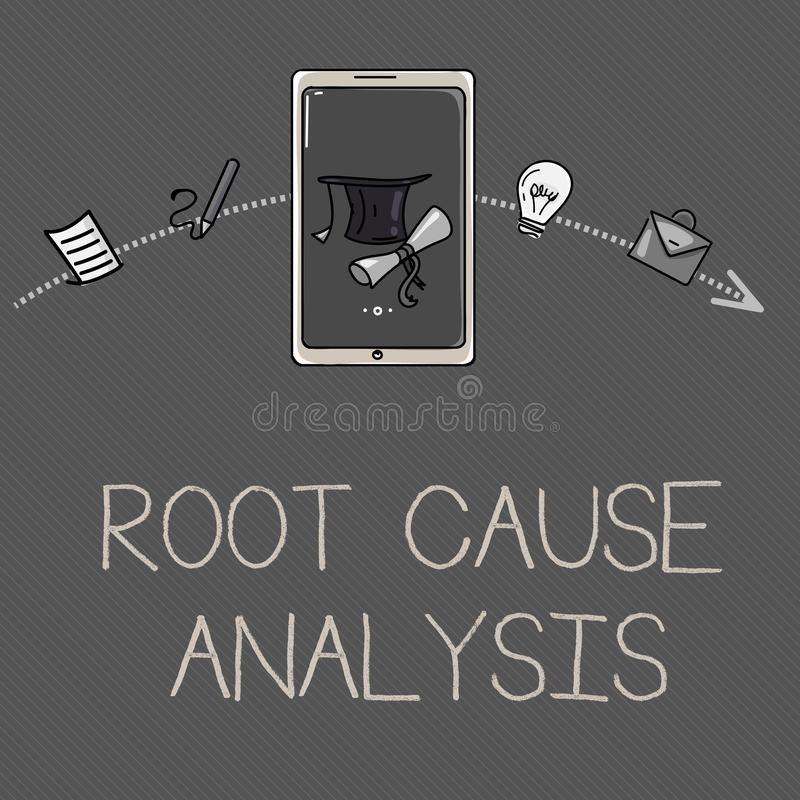 Conceptual hand writing showing Root Cause Analysis. Business photo showcasing Method of Problem Solving Identify Fault or Problem.  stock illustration