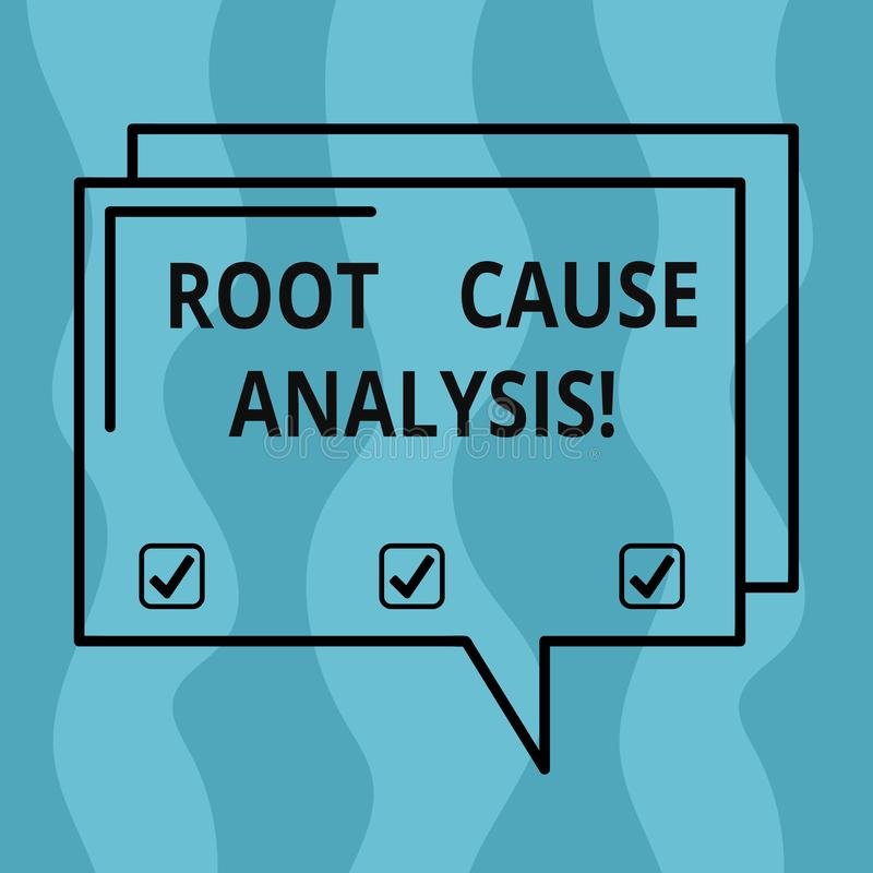 Conceptual hand writing showing Root Cause Analysis. Business photo showcasing method of problem solving used for. Identifying causes Rectangular Outline stock illustration