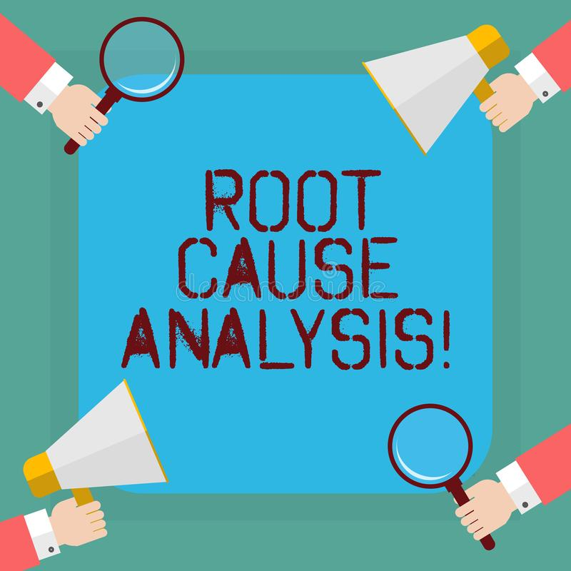 Conceptual hand writing showing Root Cause Analysis. Business photo showcasing method of problem solving used for. Identifying causes Hu analysis Hands Holding royalty free illustration