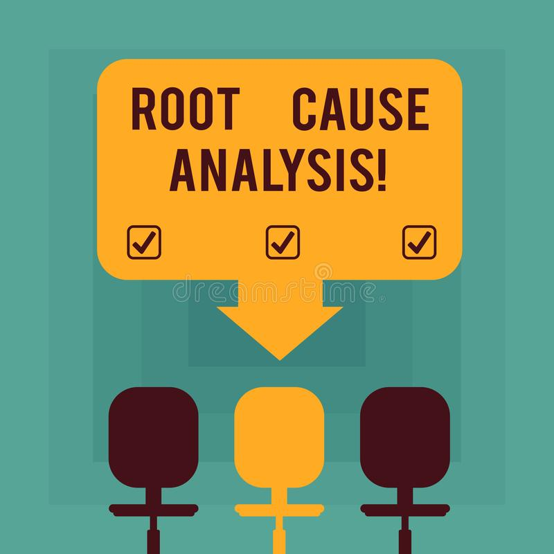 Conceptual hand writing showing Root Cause Analysis. Business photo text method of problem solving used for identifying. Causes Space Color Arrow Pointing to stock illustration