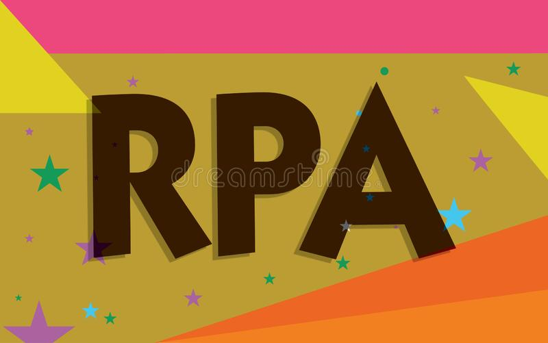 Conceptual hand writing showing Rpa. Business photo text The use of software with artificial intelligence to do basic. Task vector illustration